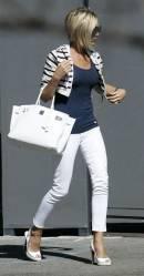 Victoria Beckham in white jeans